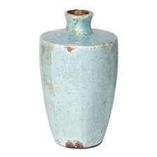 Distressed Turquoise Albretch Ceramic Vase