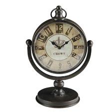 Distressed Brown Astor Metal Table Clock
