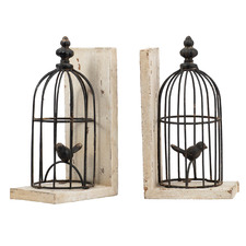 Black Bird Cage Bookends (Set of 2)