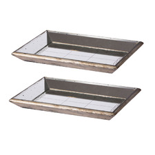 Distressed Decorative Mirrored Trays (Set of 2)