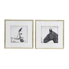 2 Piece Horse Framed Printed Wall Art Set