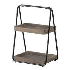 Gage 2 Tier Metal & Wood Serving Stand
