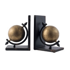 Gold & Black Sphere Metal Bookends (Set of 2)