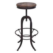 Natural & Black Bennett Elm Wood Adjustable Barstool