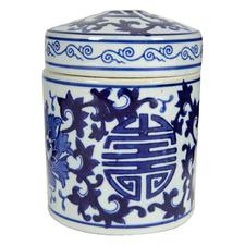 Blue & White Lenka Porcelain Decorative Canister