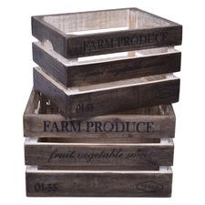 2 Piece Astrid Mango Wood Crate Set