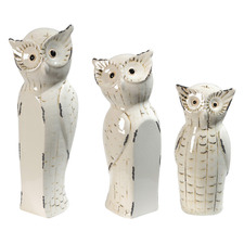 3 Piece Janvier Owl Porcelain Ornament Set