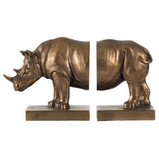2 Piece Bronze Drea Rhinoceros Bookends Set