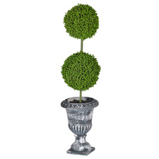39cm Potted Faux Double Ball Topiary