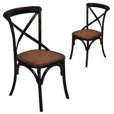 Black Cross Back Elm Wood Dining Chairs (Set of 2)