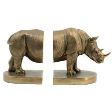2 Piece Bronze Rhino Bookend Set