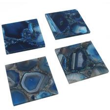 4 Piece Blue Agate Coaster Set