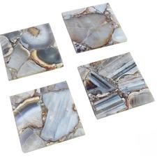 4 Piece Grey Agate Coaster Set