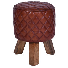 Ellison Genuine Leather Round Footstool