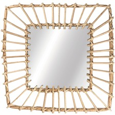 Square Cane Willow Mirror