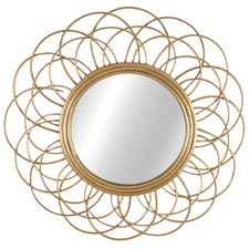 Round Daffodil Cane Willow Mirror