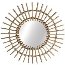 Round Sunshine Cane Willow Mirror