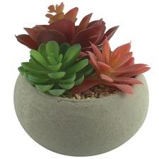 Faux Succulent Garden with Grey Concrete Pot