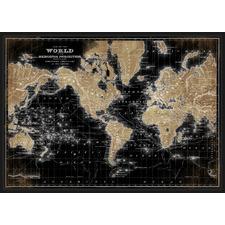 World Map Framed Canvas Wall Art