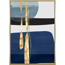 Blue & Gold Abstract Framed Canvas Wall Art