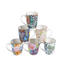 6 Piece Floral Ceramic Mug Set