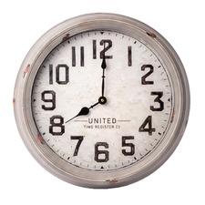 Grey Washed Nancy Metal Wall Clock