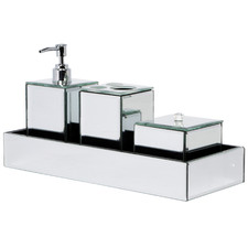 4 Piece Glass Bathroom Accessory Set