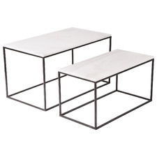 2 Piece Cyrill Marble-Top Side Table Set