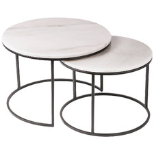 2 Piece Cyrilla Marble-Top Nesting Side Table Set