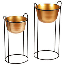 2 Piece Brass Erioll Metal Planter on Stand Set