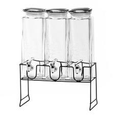 4 Piece Yorkshire 2.3L Glass Dispensers & Metal Stand Set