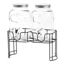 3 Piece Yorkshire 3.75L Glass Dispensers & Metal Stand Set