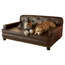 Brown Library Faux Leather Pet Bed