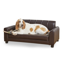 Brown Ludlow Faux Leather Pet Bed
