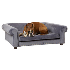 Grey Jackson Suede Leather Pet Bed