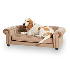 Tan Sullivan Suede Leather Pet Bed