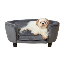 Grey Coco Suede Leather Pet Bed