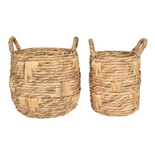 2 Piece Luna Hand-Woven Water Hyacinth  Baskets Set