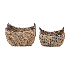 2 Piece Shaina Hand-Woven Water Hyacinth Baskets Set