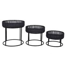 3 Piece Black Aleck Rattan Side Tables Set