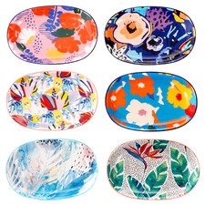 6 Piece Garden Lifestyle Ceramic Dinner Plate Set
