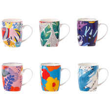 6 Piece Garden Lifestyle 300ml Ceramic Mug Set