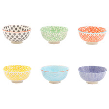 6 Piece Viola 12cm Ceramic Rice Bowl Set