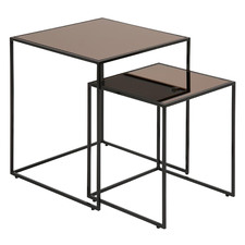 2 Piece Bronze Lincoln Glass Nesting Side Tables Set
