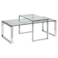 2 Piece Manhattan Clear Glass-Top Nesting Coffee Tables Set