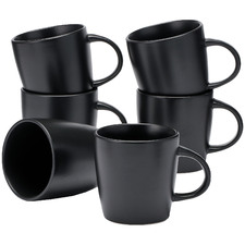 Black Annisa 290ml Stoneware Mugs (Set of 6)