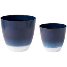 2 Piece Blue & White Hamptons Planter Pot Set