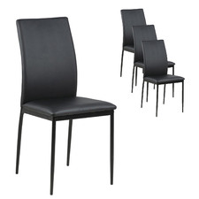 Black Willis Faux Leather Dining Chairs (Set of 4)