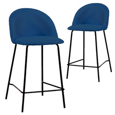 68cm Navy Leah Velvet Barstools (Set of 2)