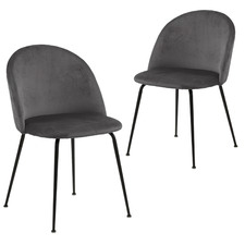 Dark Grey Luna Velvet Dining Chairs (Set of 2)